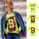 FL664 Blouse ample, motifs gais, chaux au néon