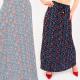 C17693 Damen Maxirock, plissiert, Mix aus Mustern