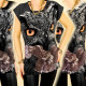 3756 Loose Blouse, Top, Drawing Owl & Eagle