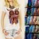 G193 BLUSA muy de moda, algodón, OWL INDIA
