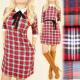 BI613 Elegant Dress, Collar, Pattern Lattice