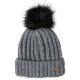 Roadsign Faux fur pompom knitted hat, gray melange