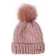 Roadsign Knit hat fake fur bobble, pink, One Si