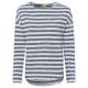 Damen Langarmshirt gestreift, XL, marine/weiß