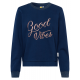 Damen Sweatshirt Rundhals Good Vibes, marine, sort
