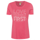 Ladies T-Shirt Love First, coral, assorted size