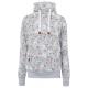 Damen Sweatshirt Tube Flowers AOP, M, graumelange