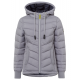 Ladies quilted jacket with hood, gray, assorted si