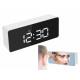 Horloge réveil thermomètre LED miroir alarme date