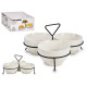 set of 3 white porcelain appetizer plates