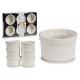 set of 6 white porcelain stackable saucers
