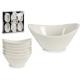 zestaw 6 białych porcelanowych owalnych spodków