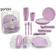 set of 31 pieces tableware with lilac cutlery