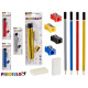 set of 6 pencils with pencil sharpener and rubber,