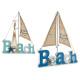 panneau en bois voilier de plage, 2 fois assorti