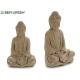 Bouddha méditant grande pierre blanchie