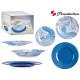 Vaisselle 18 pièces marbre bleu