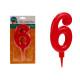 big red 6 birthday candle