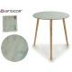table en verre marbre 50cm pieds en bois