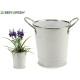 small pot white handles silver edge