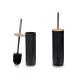 escobillero negro con tapa bambu