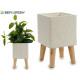 bloempot cement poten hout vierkant medium