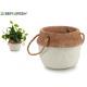 white cement pot large handle short