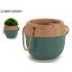 flowerpot cement green small handle short