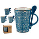 jug mug + blue spoon, 4 times assorted models
