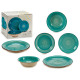 tableware 18 pieces turquoise stoneware