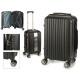 suitcase cabin abs black vertical stripes