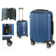 suitcase cabin abs blue vertical stripes