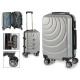 suitcase cabin abs silver waves circle