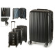 set of 3 suitcases abs black vertical stripes