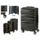 set of 3 suitcases abs black waves