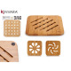 square bamboo table mat 19x19cm, 4 times assorted