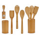 set de 3 ustensiles de cuisine en bambou support r