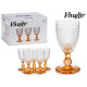 transparent water cup amber foot 25 cl