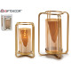 golden square glass candle holder