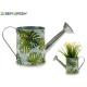 metal planter watering can leaves