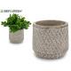 flowerpot cement cylinder embossed wicker