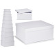 set of 10 white cardboard boxes