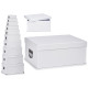 set di 10 scatole di cartone bianche con manici in
