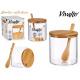 zuccheriera borosilicato c coperchio bambù + quadr