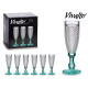 coupe diamant champagne pied turquoise