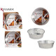 set of 2 large round aluminum trays