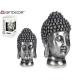 tête de Bouddha en résine argentée