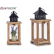 square lantern wood lattice natural