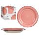 assiette dessert en grès rose avec bordure