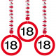 18 Years Traffic Sign Hanging Decoration - 3 piece